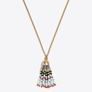 J. Crew Beaded Tassel Pendant Necklace